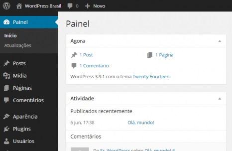 Painel de Controle do WordPress, de onde você fará as edições no seu site.